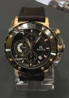 Alfa Chronograph Jam Tangan Pria, trendy, harga terjangkau, 100% ori dan bergaransi