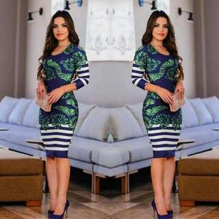 🍃Office Striped Floral Dress