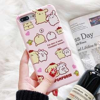 (Y)手機殼IPhone6/7/8/plus/X : 少女粉紅底布甸狗全包邊軟殼