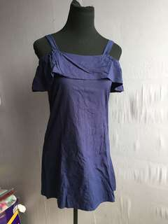 Cold Shoulder Navy Blue Dress