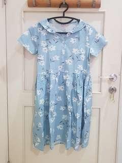 Dress Kawai Mori Biru Bunga