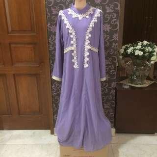 purple pompom dress