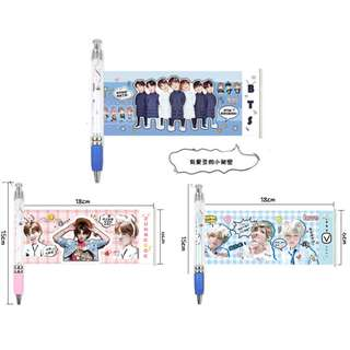 BTS Bangtan boys ball pen with picture BTS photo ball pen Black ball pen Kwave Kpop