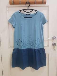 Dress Katun Kaos Biru