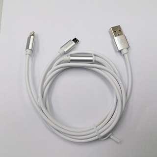 iPhone 蘋果安卓一分二叉電線 USB 2A 快叉線