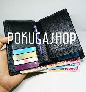 Dompet kulit pria premium black bam size 3/4 / dompet kulit asli