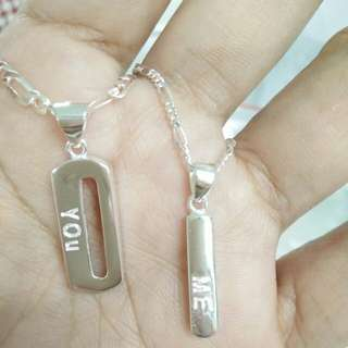 Free shipping 92.5 italy silver couple necklace with pendant