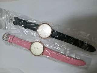 全新現貨 高質感皮革錶帶 簡約時刻設計 簡約錶盤 輕巧超薄錶殼 女錶 學生錶 日常防水手錶