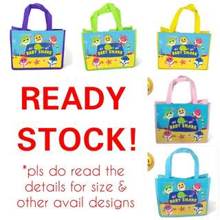 1for$1.20 12for$14 Blue Pink Yellow Green Purple Baby Shark Party Bag / Goodie Bag for kids celebration