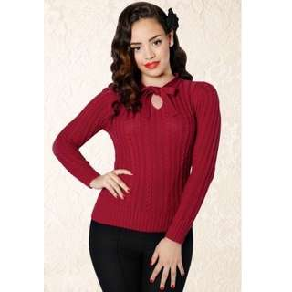 COLLECTIF BEAU RED CABLE KNIT KEYHOLE PUSSY BOW VINTAGE PINUP JUMPER XL 14 16