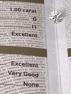 GIA證 1.00卡 G色 I1 EX/EX/VG NONE HKD$28000。加$可代鑲18K戒指吊咀耳環
