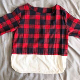 black and red checkered long sleeves top