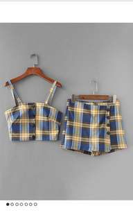 🚚 黃藍格紋細肩吊帶上衣褲裙套裝