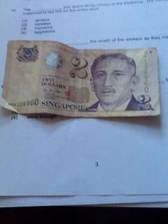 Authentic old $2 note(paper)