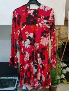 H&M Red Floral print Dress