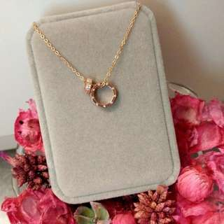 日本玫瑰金水晶Love系列頸鏈 Brand New Japan Rose Golden Crystal Love Series Necklace