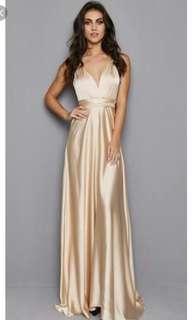 Beige Silky Formal Dress