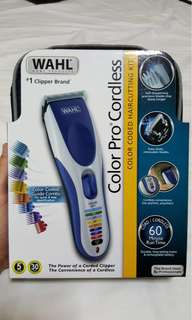 Wahl Clipper Color Pro Cordless Rechargeable Hair Clippers, Hair trimmers, 21 pieces Hair Cutting Kit, Colour Coded guide With Free Oil