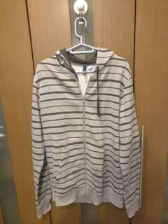 H&M Gray Stripes Cotton Hoodie Jacket size Small