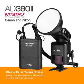 Godox AD360II-C/N WITSTRO TTL Portable Flash for Canon and Nikon Cameras