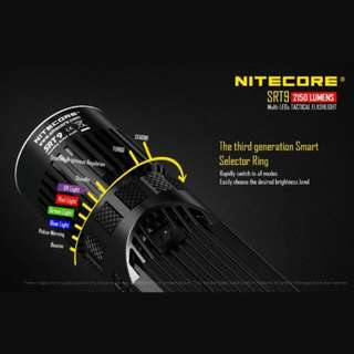 (In-stock) Nitecore SRT9 Tactical Flashlight with White, Red, Blue, Green & UV LED