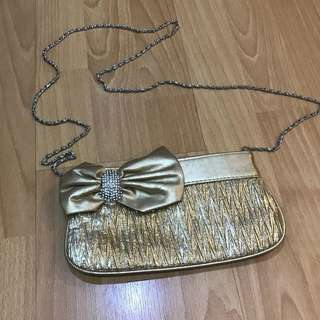 Gold small sling bag with stones SALE
