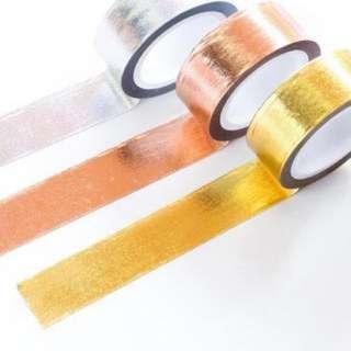 [IN] [WT] Metallic Washi Tape (Gold / Silver / Copper)