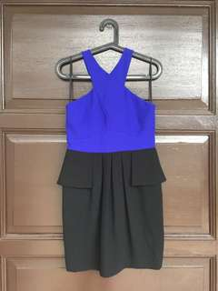 Barely Worn Ever New Blue and Black Peplum Dress