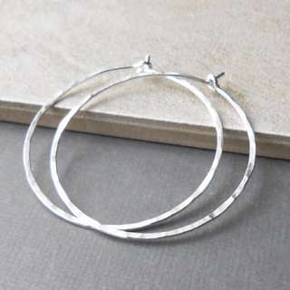 Hammered Silver Hoop Earrings 2""