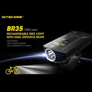 (FREE Delivery - 1,800 Lumens) NITECORE BR35 USB Rechargeable Bike/Scooter Light
