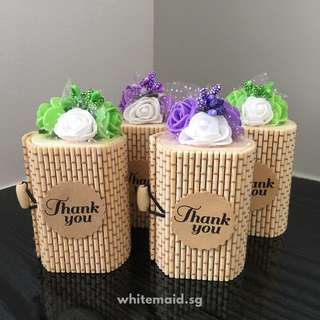 Flower Decorated Bamboo Gift Box