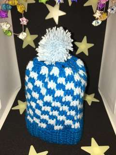 Big long blue white checkers beanies/ hat with pom pom for babies (handmade/ knitted)