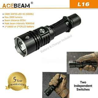(FREE Delivery) Acebeam L16 Tactical Rechargeable Flashlight -2,000 Lumens , 603 Meters Throw