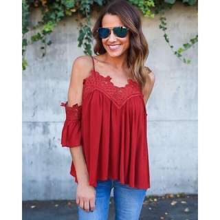Embroidered Lace Cold Shoulder Top