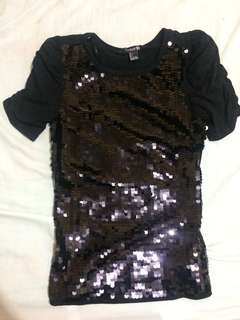 Forever21 Black Sequined Top (Large)