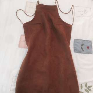 BN brown suede backless halter dress bodycon
