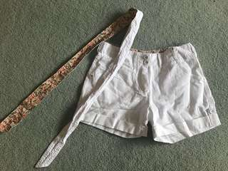 White/floral shorts with belt