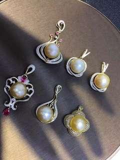 金珠特價!S925銀鍍24k金,12-13mm南洋金珠幾乎無暇 配送s.925銀鍍金鍊子一條 🉐不可複製的價格