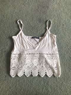 White crop with lace detail