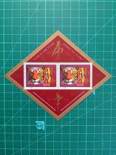 [均一價$10]1998 加拿大 生肖虎年小全張 新票一套