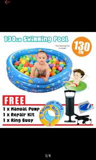 FREE POS Ready Stock Inflatable 3 Rings Family Kids Toy Outdoor Play Swimming Pool 130cm