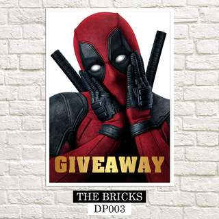 "FREE! GIVEAWAY! LARGE DEADPOOL POSTER 18"" x 24"" Inches"