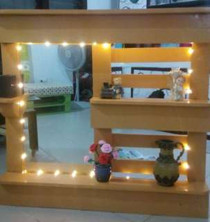 Indoor/Outdoor Decorative Shelf w/ mirror and LED lights