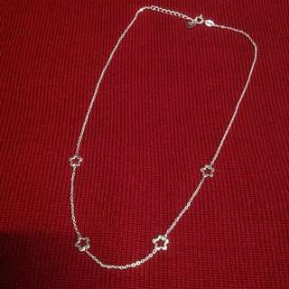 Genuine 925 Sterling Italy Silver Open Flowers Necklace