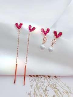 韓國韓版愛心桃心形氣質長款吊墜銀針防過敏耳環女耳釘