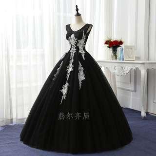 Pre order black puffy ball wedding bridal prom dress gown  RB0657
