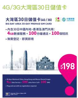 China data sim card Macau roaming mobile data sim. CMHK sim