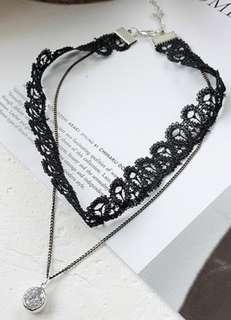lace鎖骨韓版頸鍊(約 長周32cm+5cm延長)~包平郵