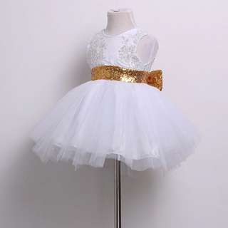 🚚 Instock - white sequin party dress, baby infant toddler girl children cute glad 123456789 lalalala so prettylalala
