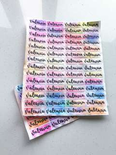 Calligraphy name stickers